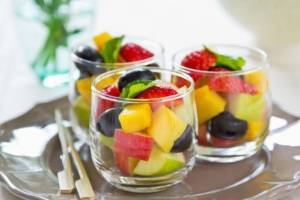 Varieties of fruits salad in small glasses